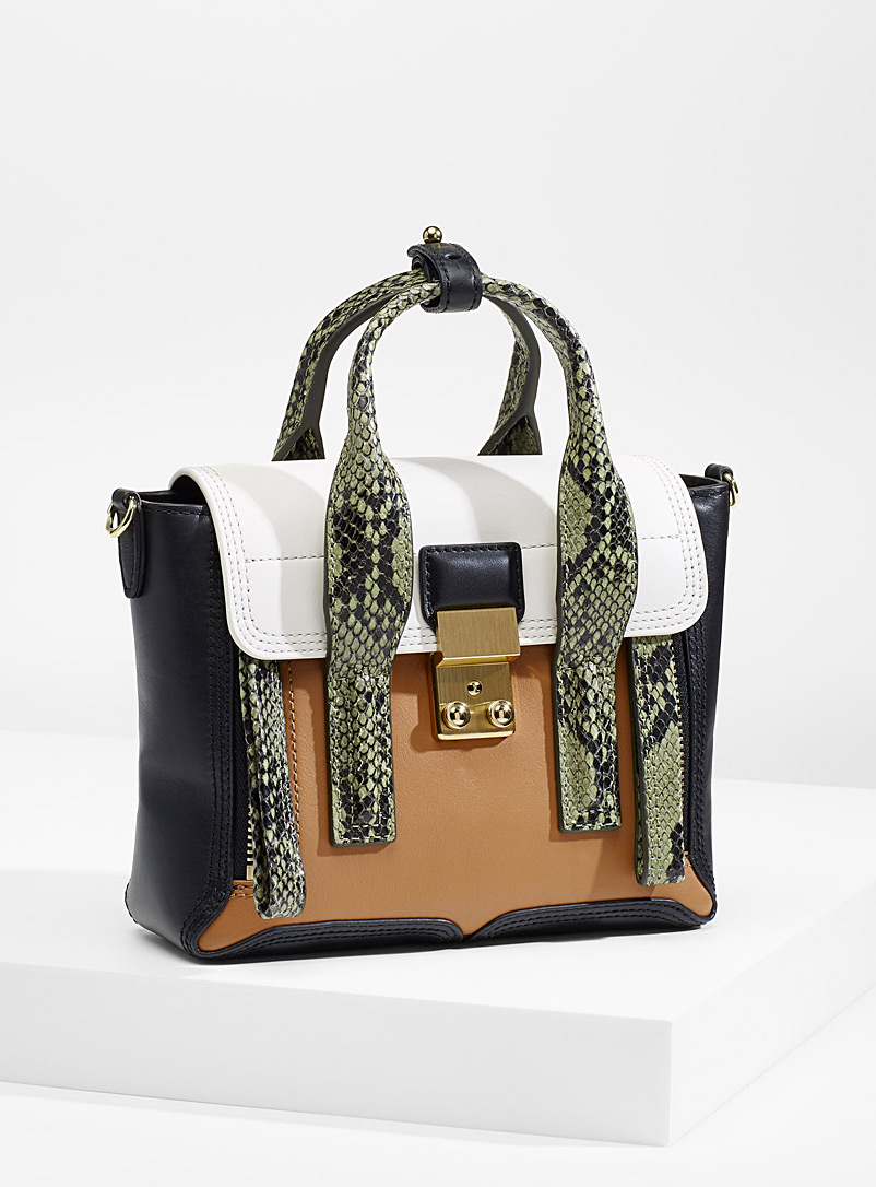 3.1 Phillip Lim Patterned Brown Snake Pashli bag for women