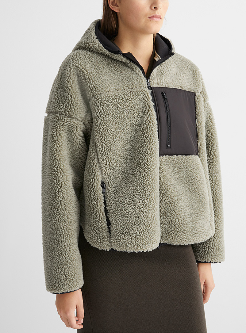 3.1 Phillip Lim Cream Beige Hooded sherpa jacket for women