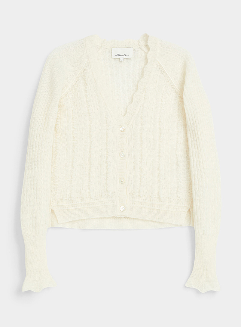 3.1 Phillip Lim Ivory White Scalloped wool cardigan for women