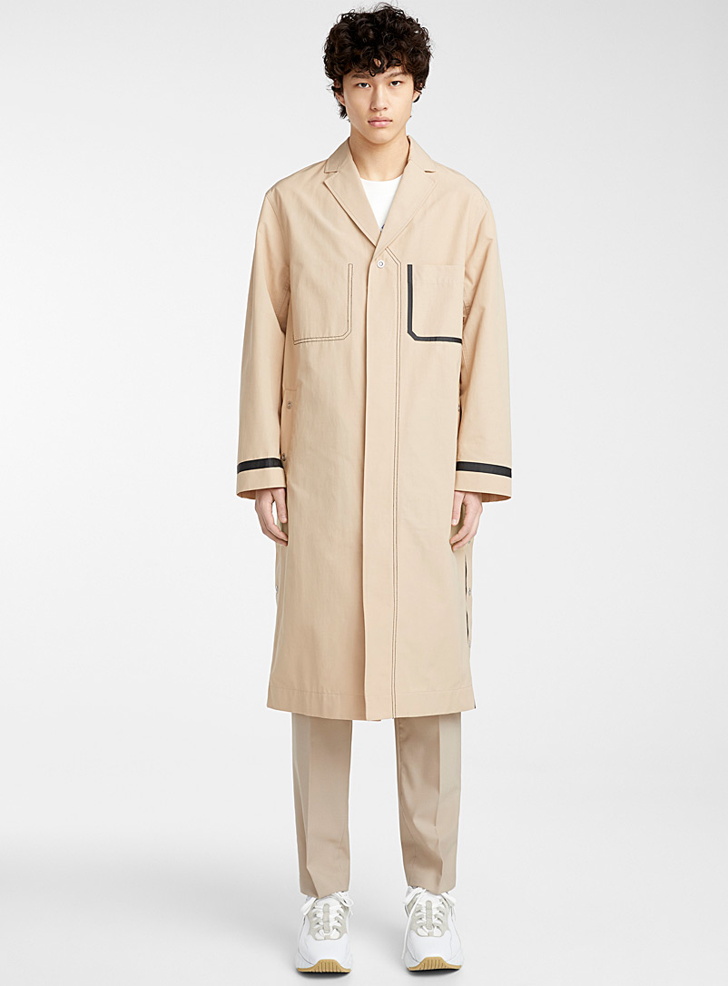 3.1 Phillip Lim Cream Beige Accent seam coat for men