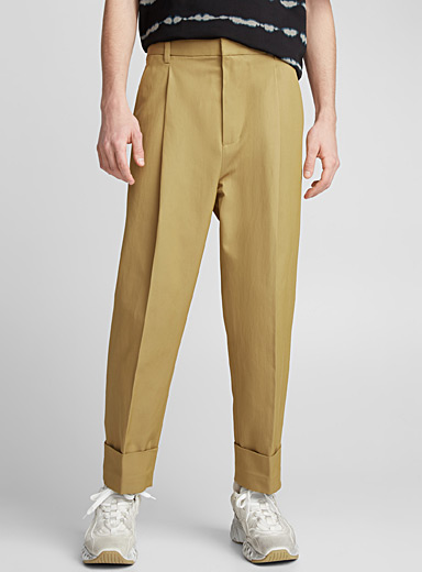 Pleated wide-cuff pant