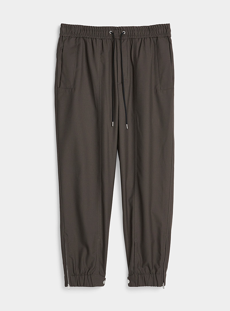 3.1 Phillip Lim Dark Brown Wool twill joggers for men