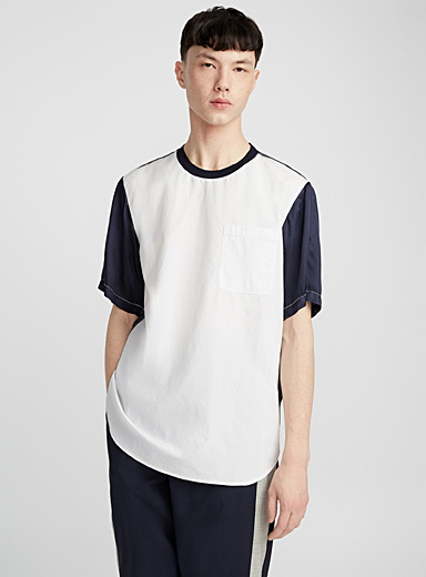 Poplin and satin T-shirt