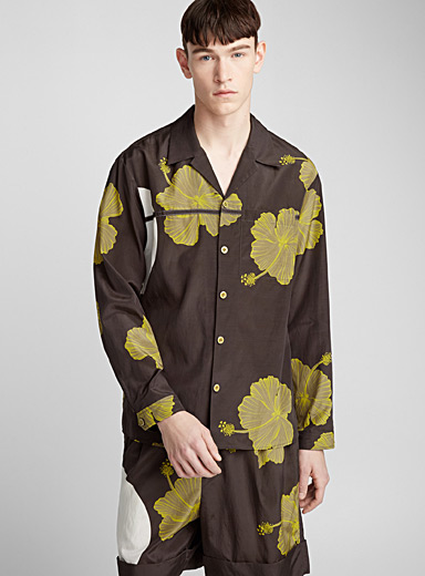 Yellow hibiscus shirt