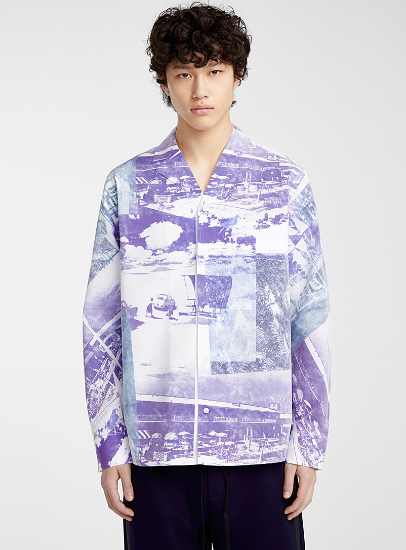 3.1 Phillip Lim Patterned Blue Postcard print blouse for men