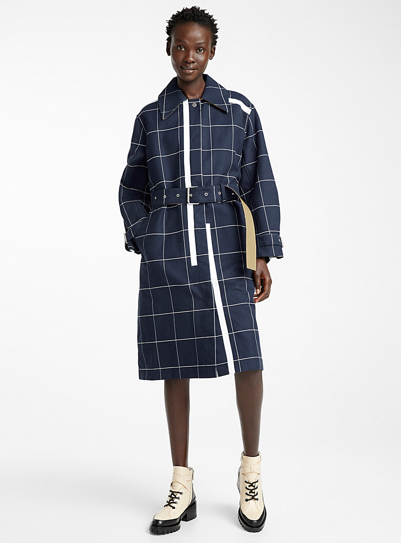 3.1 Phillip Lim Marine Blue Window Pane trench for women
