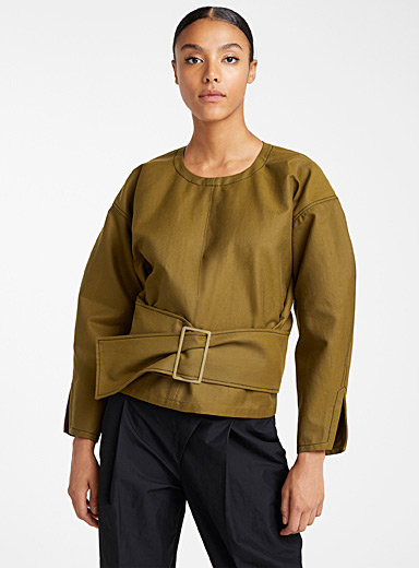 Loose belted twill blouse