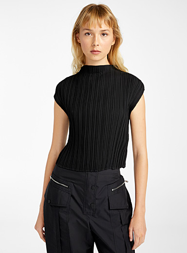 3.1 Phillip Lim Black Mock neck crop top for women