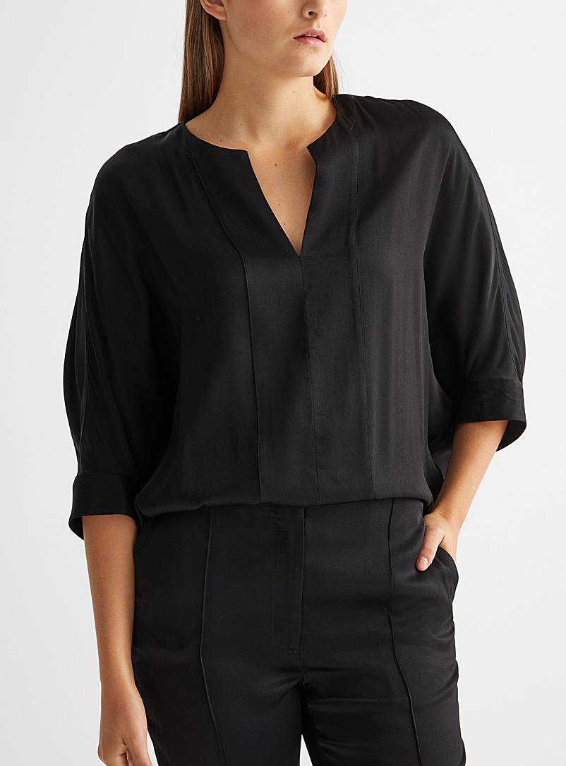 3.1 Phillip Lim Black Loose satin blouse for women