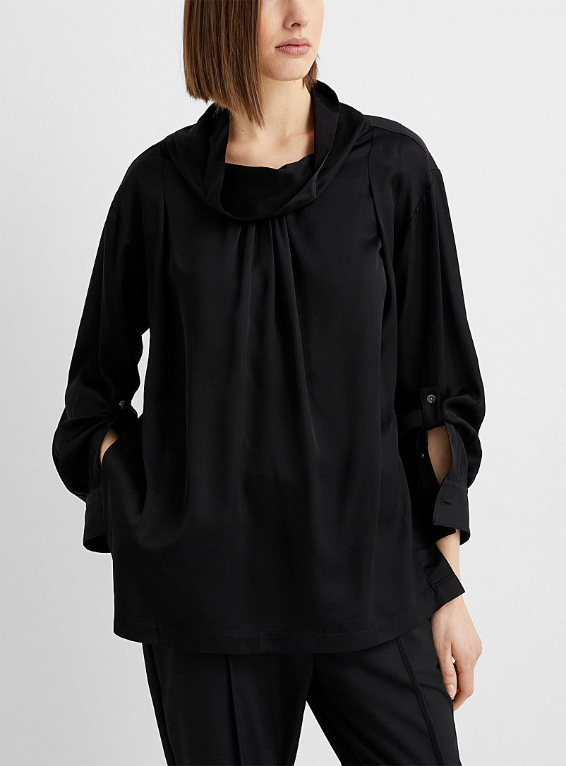 3.1 Phillip Lim Black Drape-collar satin blouse for women