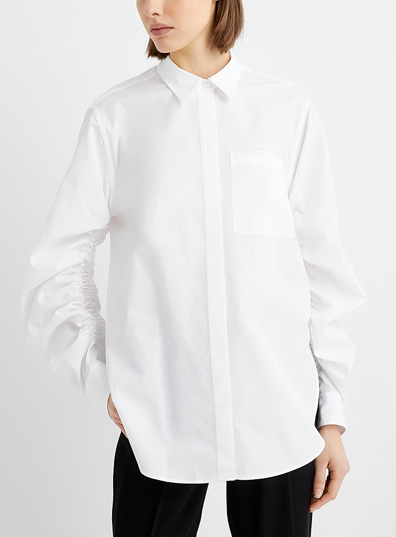 3.1 Phillip Lim White Gathered-sleeve white blouse for women