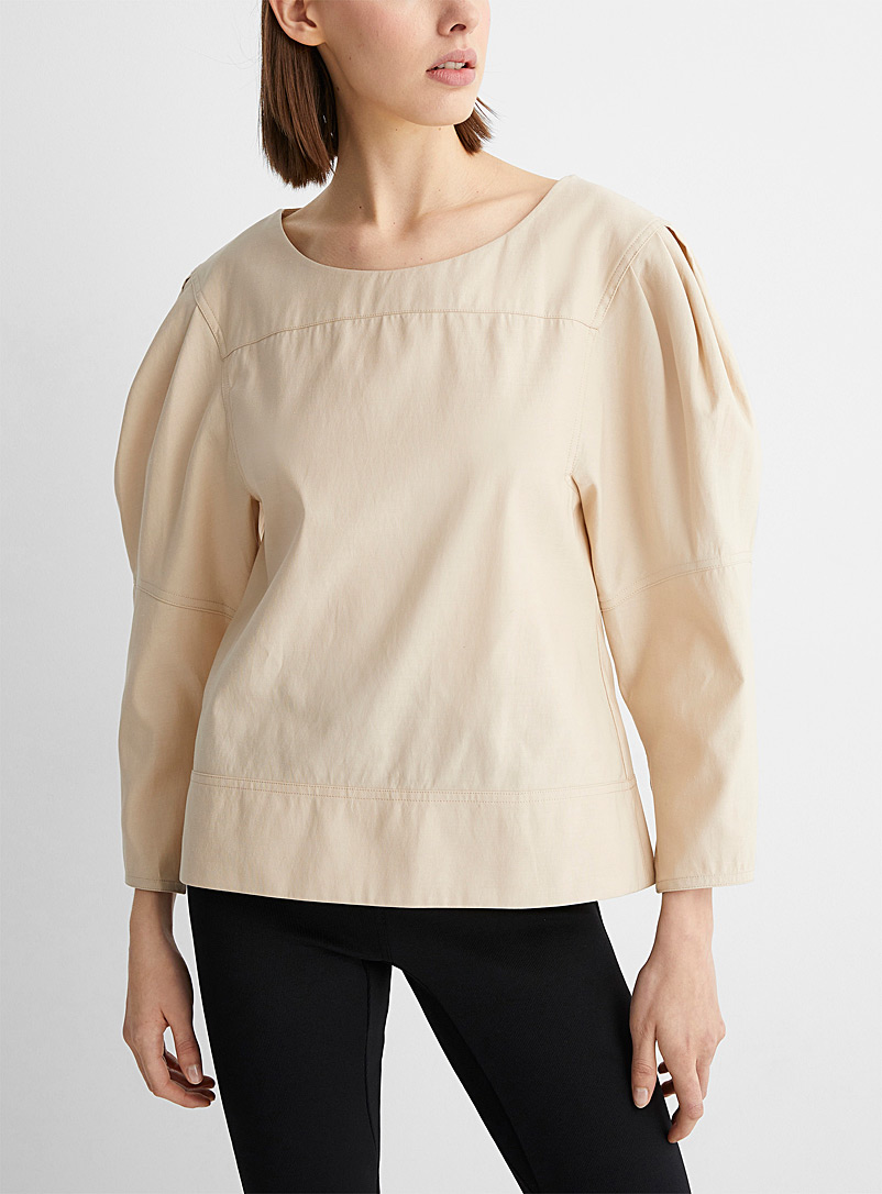3.1 Phillip Lim Cream Beige Structured-shoulder blouse for women