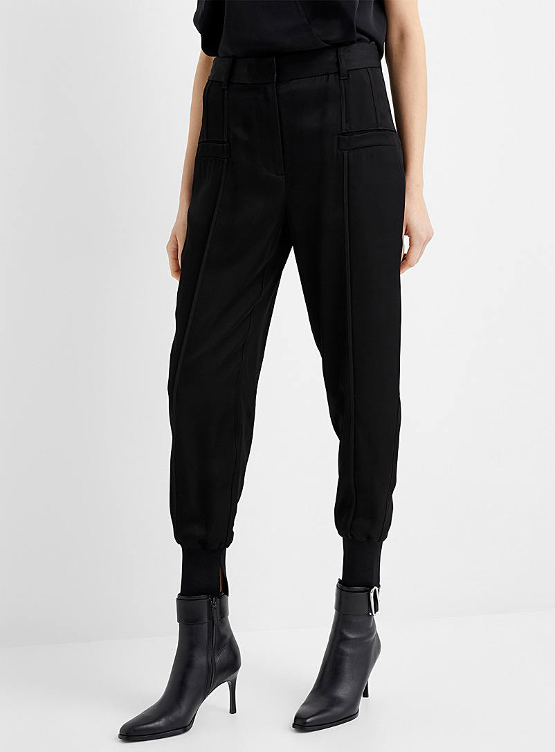 3.1 Phillip Lim Black Satin urban joggers for women