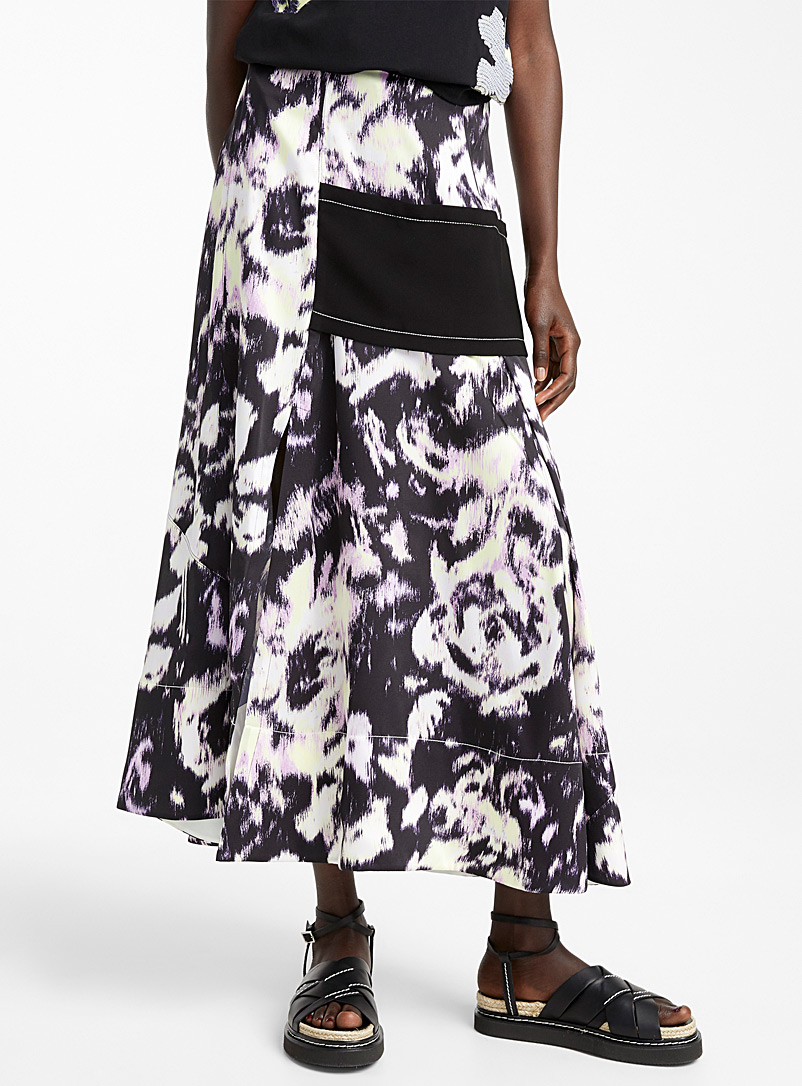 3.1 Phillip Lim Patterned Black Abstract Daisy skirt for women