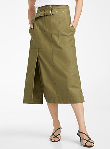 3.1 Phillip Lim Mossy Green Cargo midi skirt for women