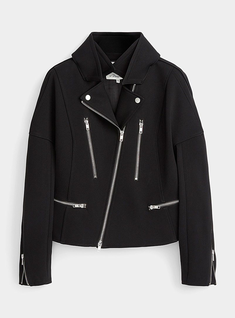 3.1 Phillip Lim Black Twill biker jacket for women