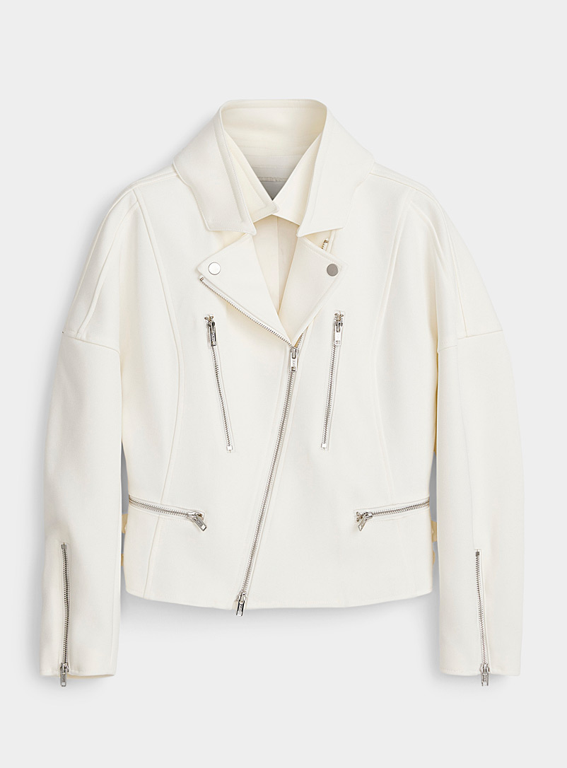 3.1 Phillip Lim Ivory White Twill biker jacket for women