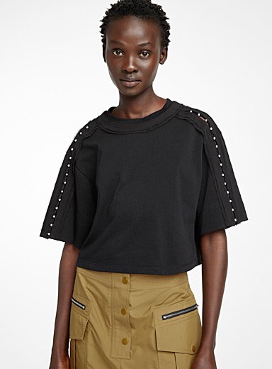 3.1 Phillip Lim Black Whimsical sleeve T-shirt for women