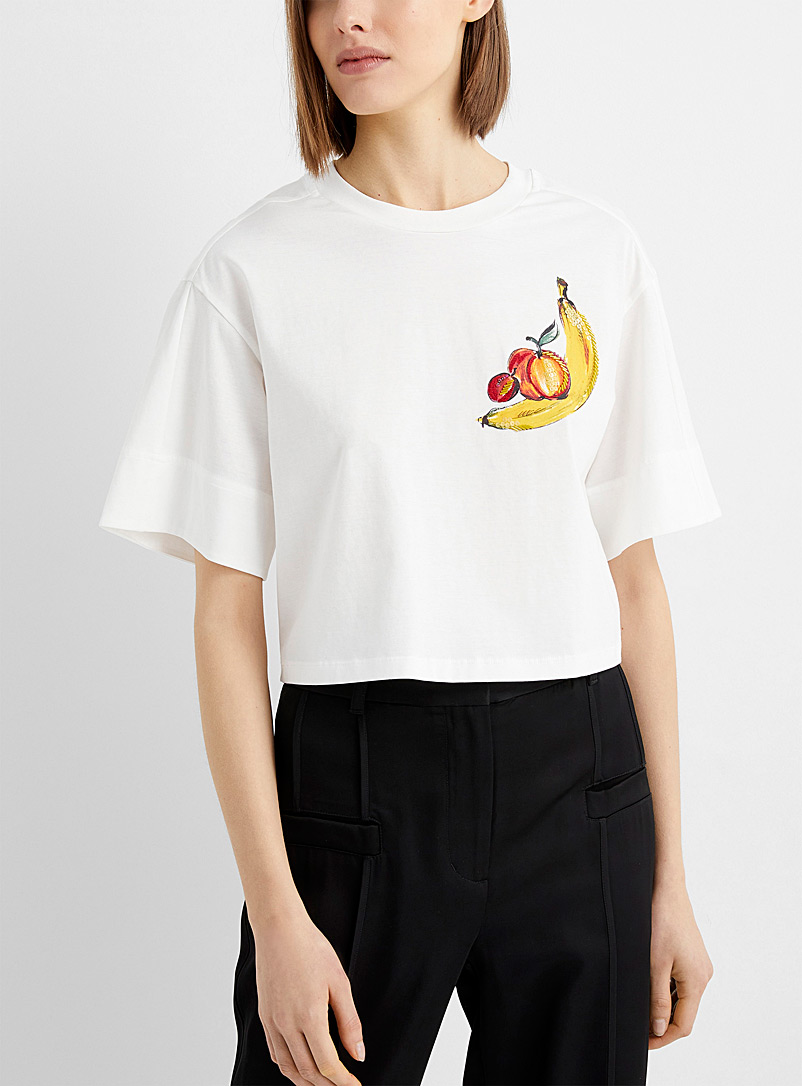 3.1 Phillip Lim White Adorned banana T-shirt for women