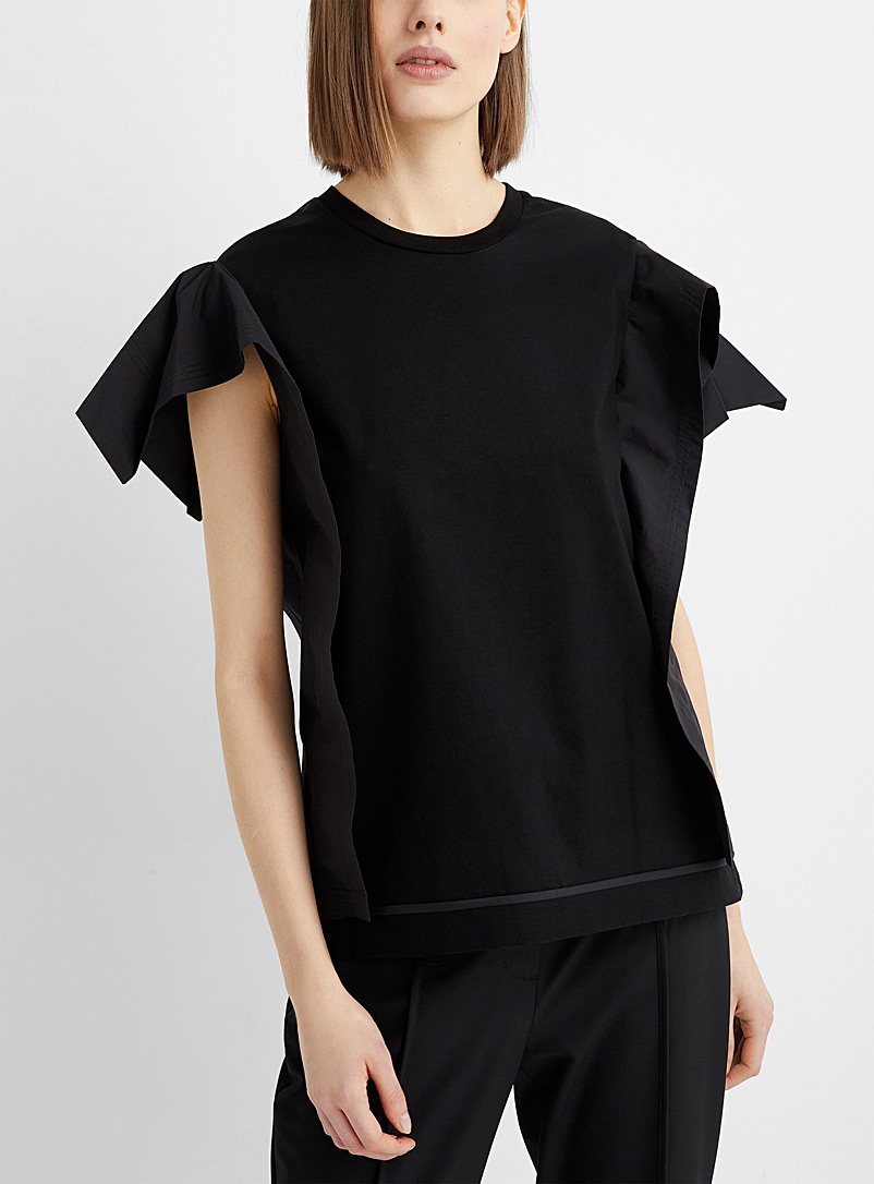 3.1 Phillip Lim Black Draped sleeve mixed media T-shirt for women