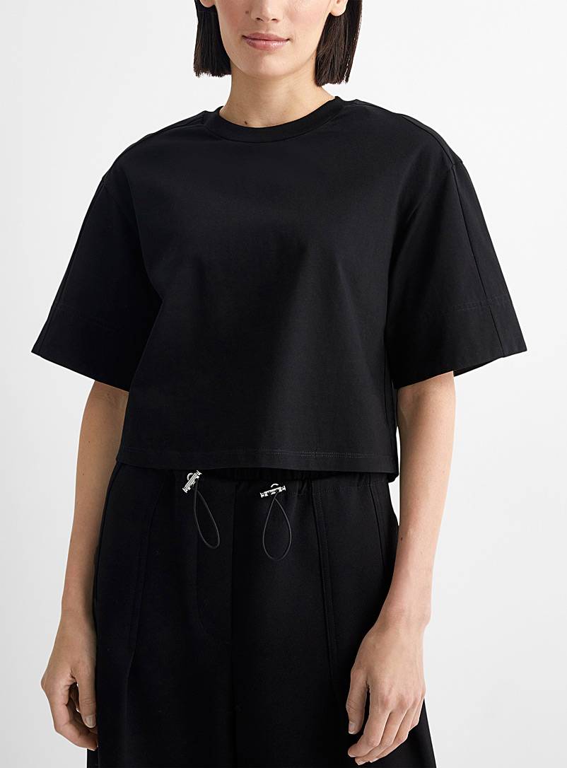 3.1 Phillip Lim Black Short tee with wide borders for women