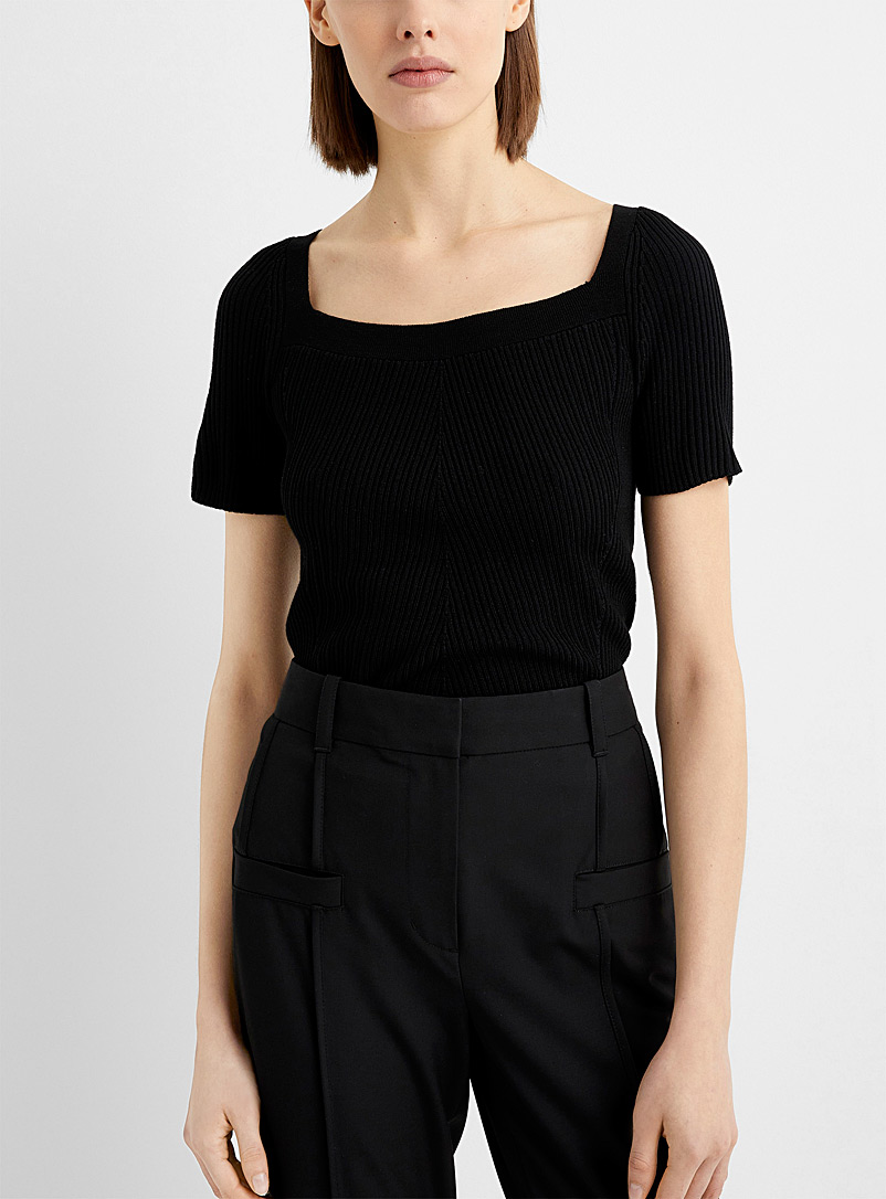 3.1 Phillip Lim Black Square-neck ribbed-knit T-shirt for women