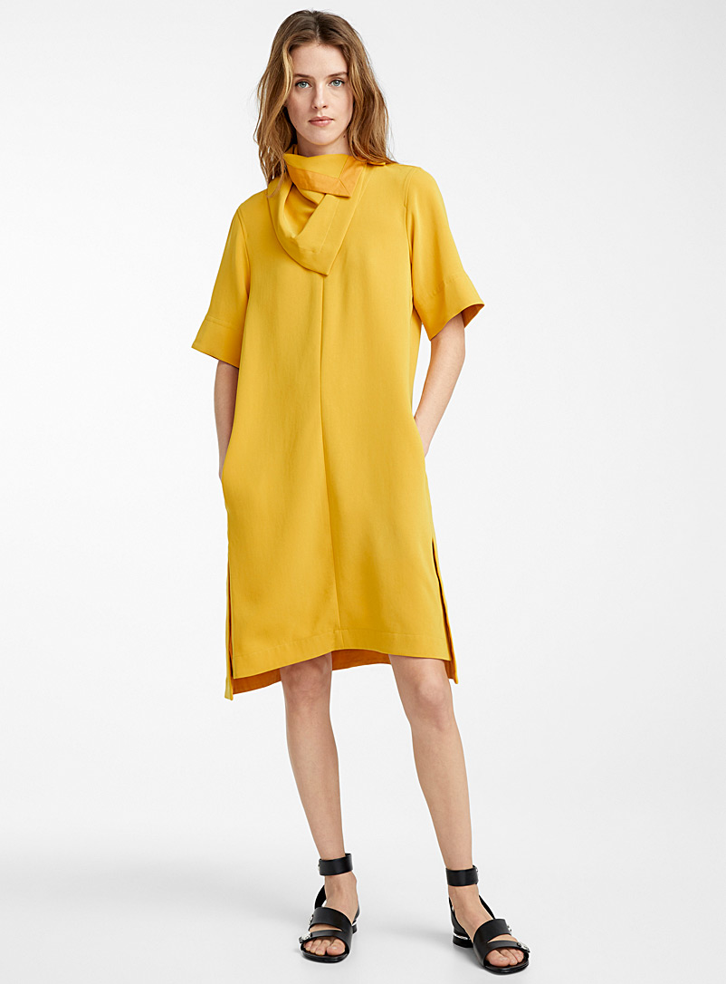 3.1 Phillip Lim Dark Yellow Removable scarf dress for women