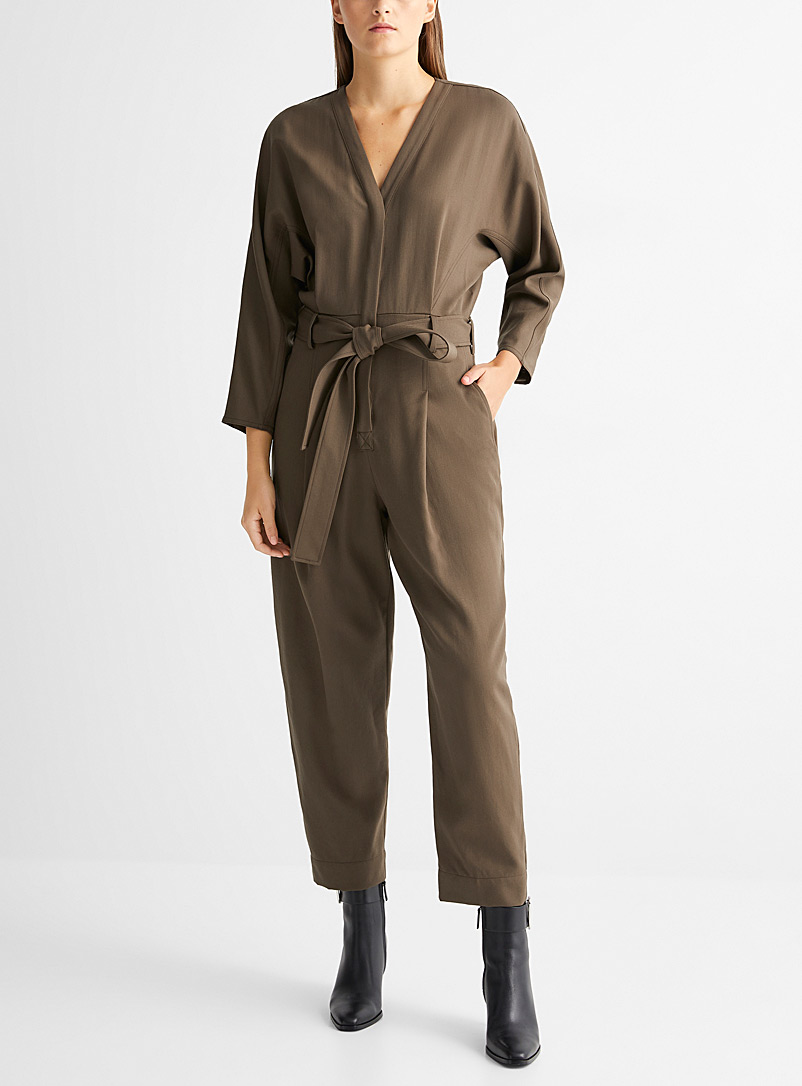 3.1 Phillip Lim Khaki Minimalist belted jumpsuit for women
