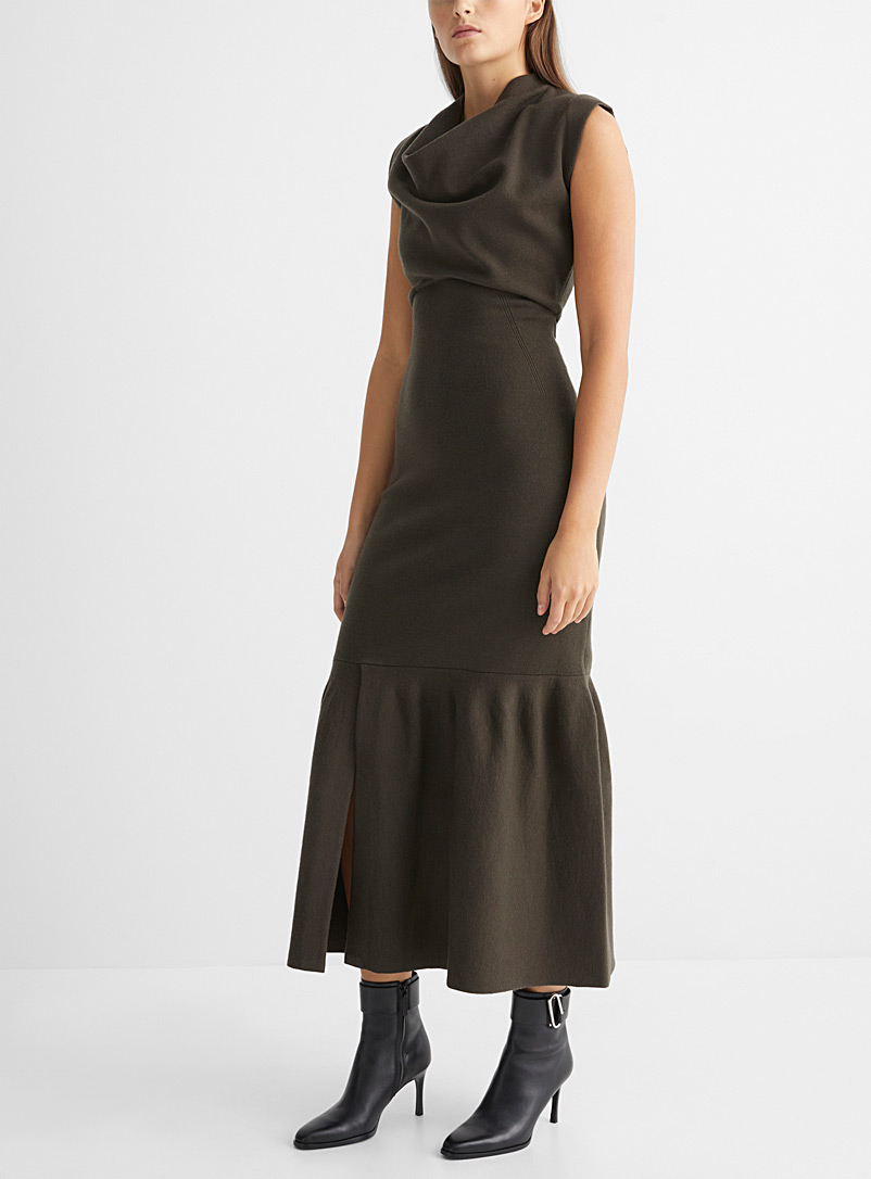 3.1 Phillip Lim Mossy Green Fitted knit dress for women