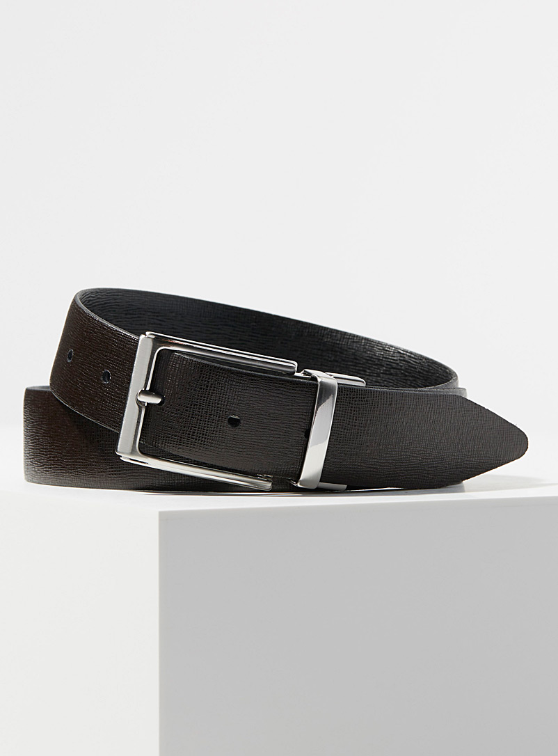 Minimalist swivel buckle belt - Dressy - Patterned Black