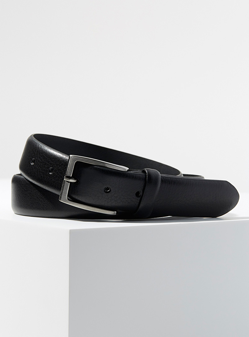 Minimalist leather belt - Dressy - Black