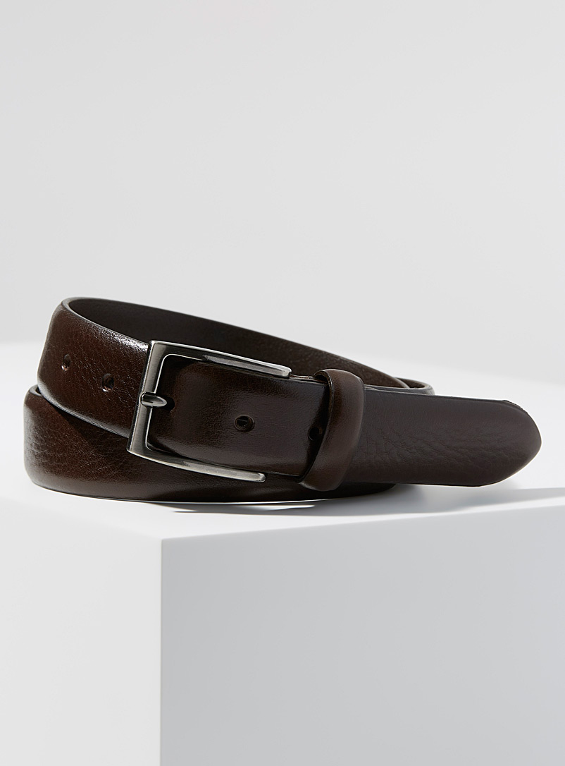 Le 31 Brown Minimalist leather belt for men