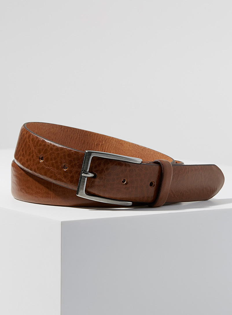 Minimalist leather belt - Dressy - Fawn