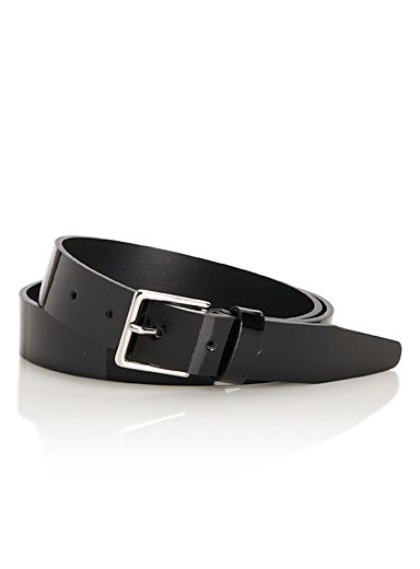 Ultra glossy leather belt