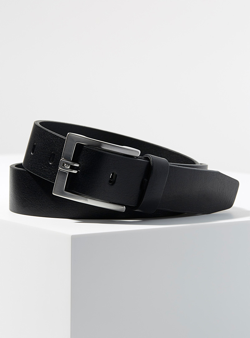 Le 31 Black Textured belt for men