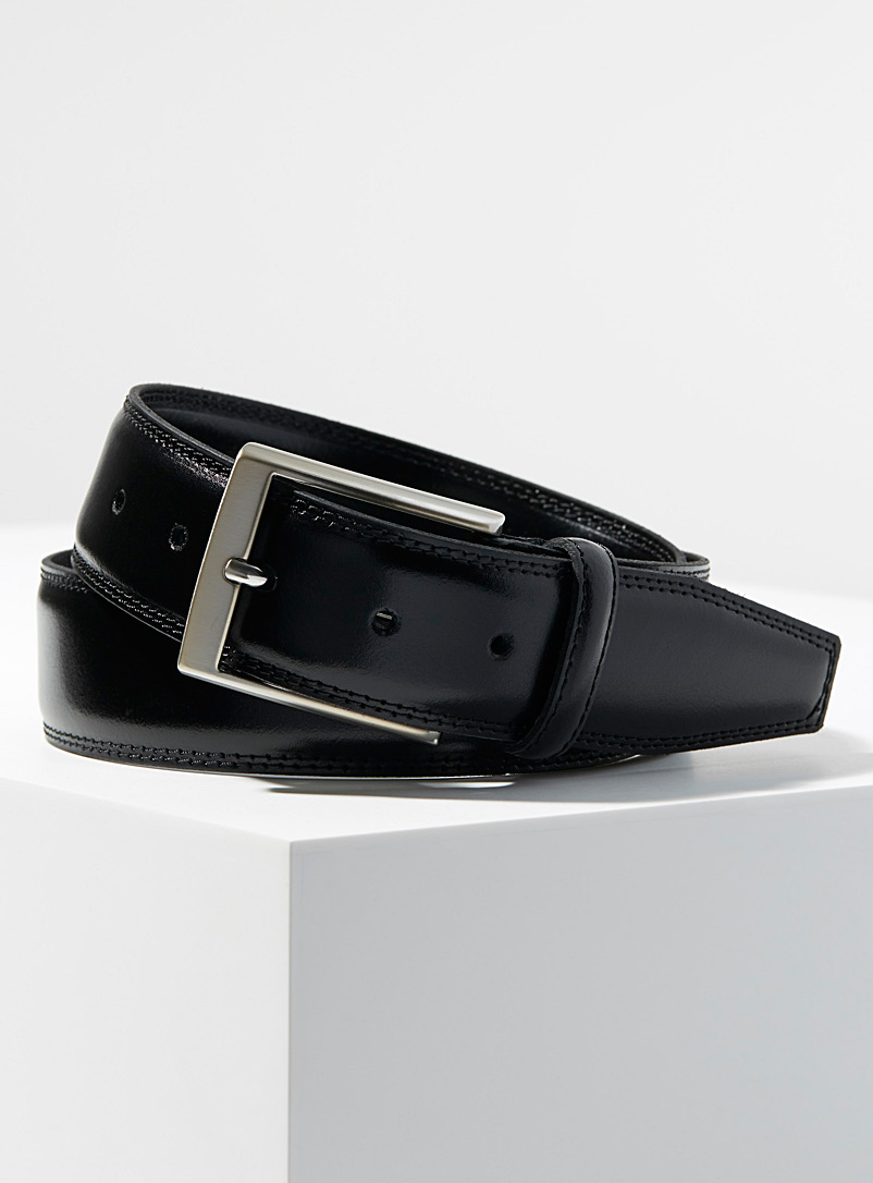 Le 31 Black Italian dress belt for men