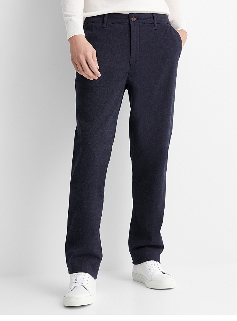 Le 31 Marine Blue Semi-plain pant  London fit - Slim straight for men