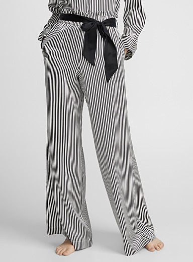 Jet black stripe pure silk pant