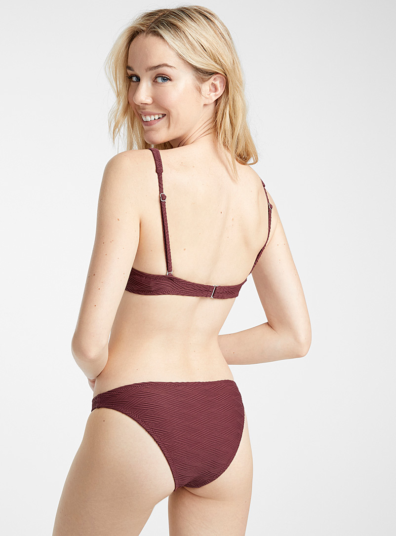 Braided texture bottom - Slim Bikini - Dark Crimson