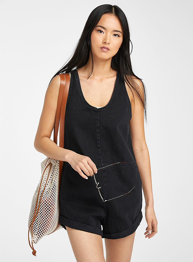 Rhythm Black Low Rider denim romper for women