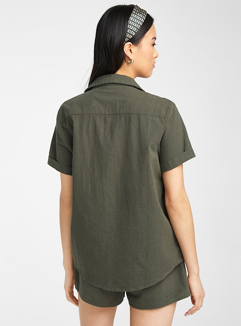 Rhythm Mossy Green Pearly button linen shirt for women