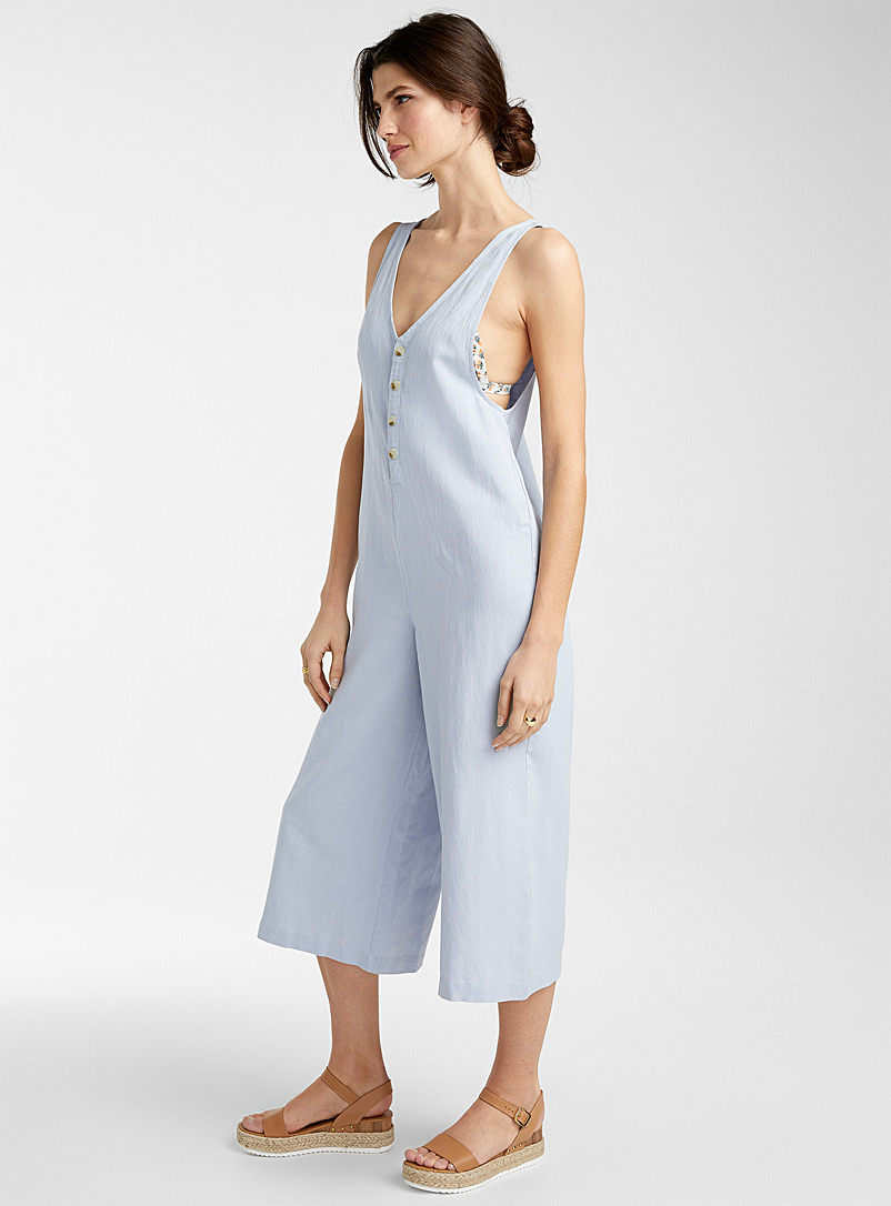 Rhythm Baby Blue Ramie button jumpsuit for women