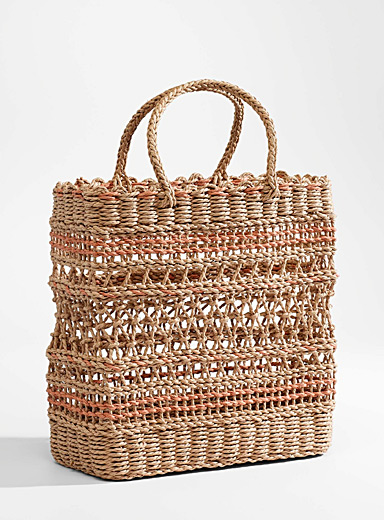 Braided straw rectangular tote