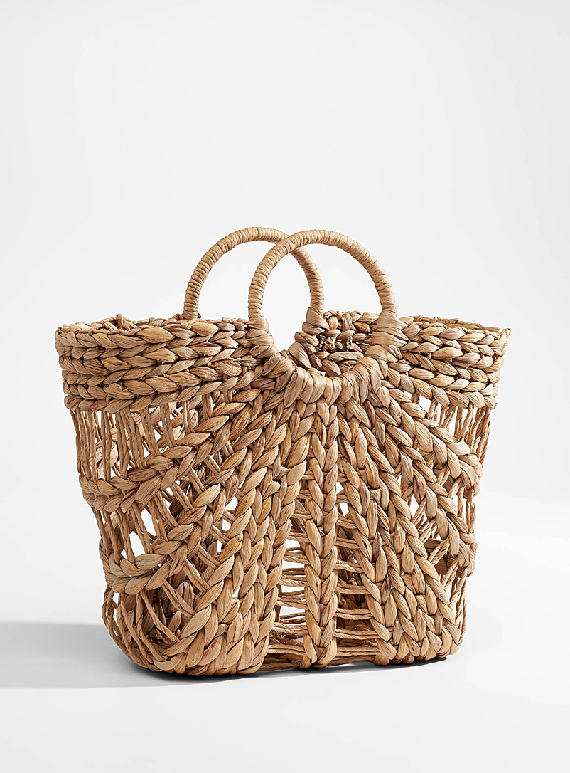 Rhythm Assorted brown Braided straw tote for women
