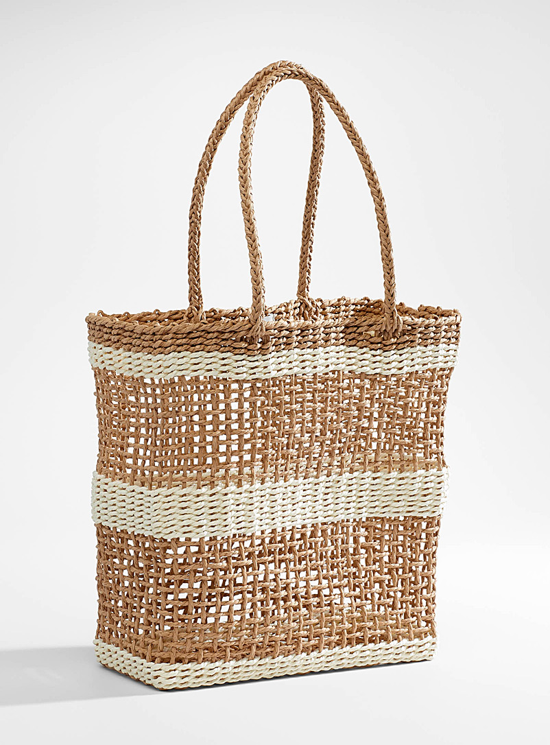 Rhythm Patterned White Striped straw tote for women