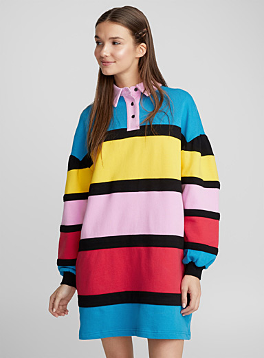 La robe sweat rayures arc-en-ciel