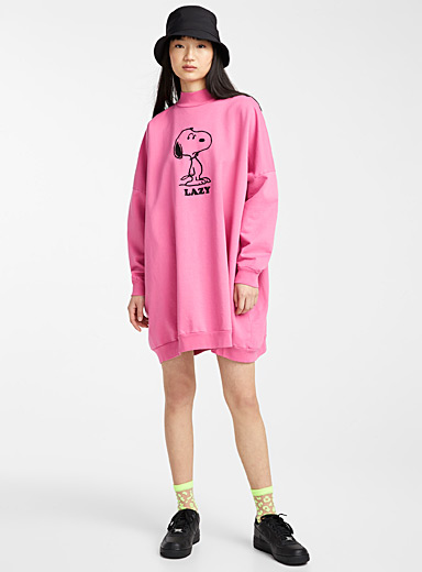 Lazy Oaf: La robe sweat Snoopy Rose pour femme