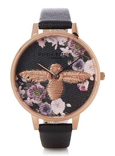 Black embroidered watch