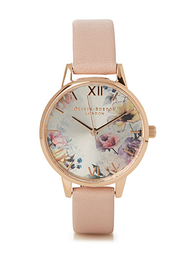 Pink floral weft watch
