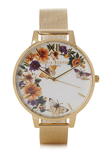 Golden Butterfly garden watch